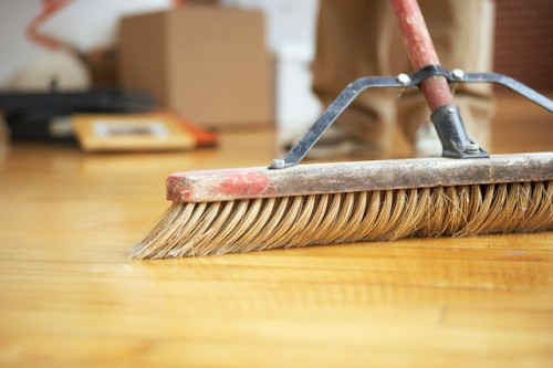 Sweeping a hardwood floor